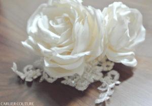 クラシカルドレス プリンセスドレス バッスルスタイル 海外婚 布花 ヘッドピース ヘッドドレス レース